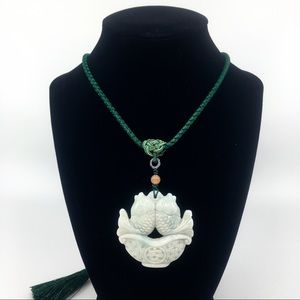 Jewelry - Natural Jade Double Koi Fish Pendant Necklace